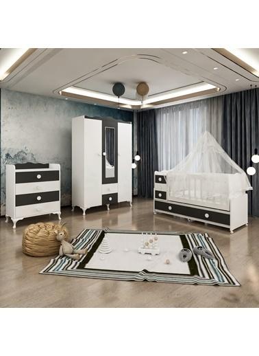 Garaj Home Garaj Home Melina Gri Bebek Odası Takımı - Yatak Ve Uyku Seti Kombinli/ Uyku Seti Beyaz Beyaz